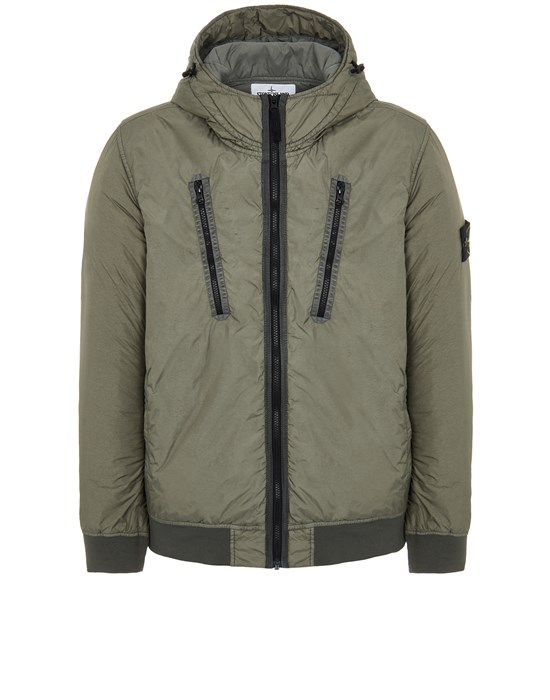 Mid-length jacket Man 42223 GARMENT DYED CRINKLE REPS NY WITH PRIMALOFT®-TC Front STONE ISLAND