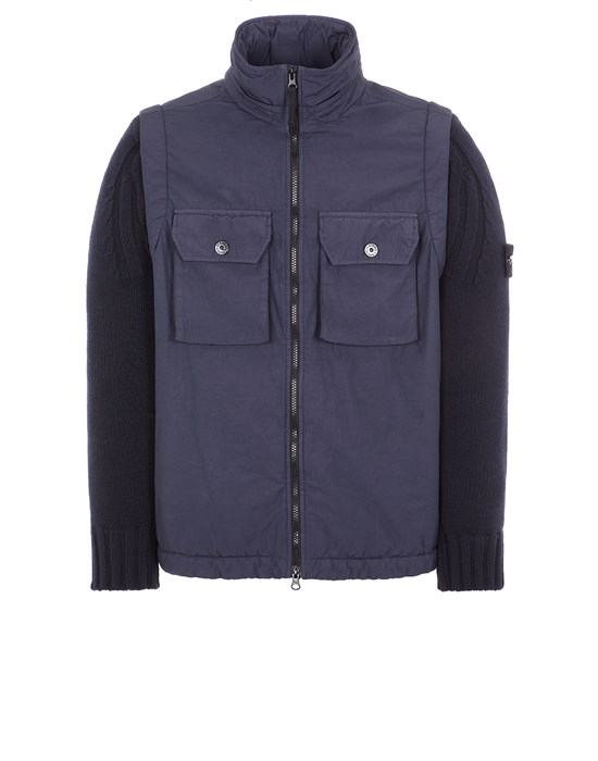 STONE ISLAND 43812 NASLAN LIGHT WATRO WITH PRIMALOFT®-TC Mid-length jacket Man Ink Blue