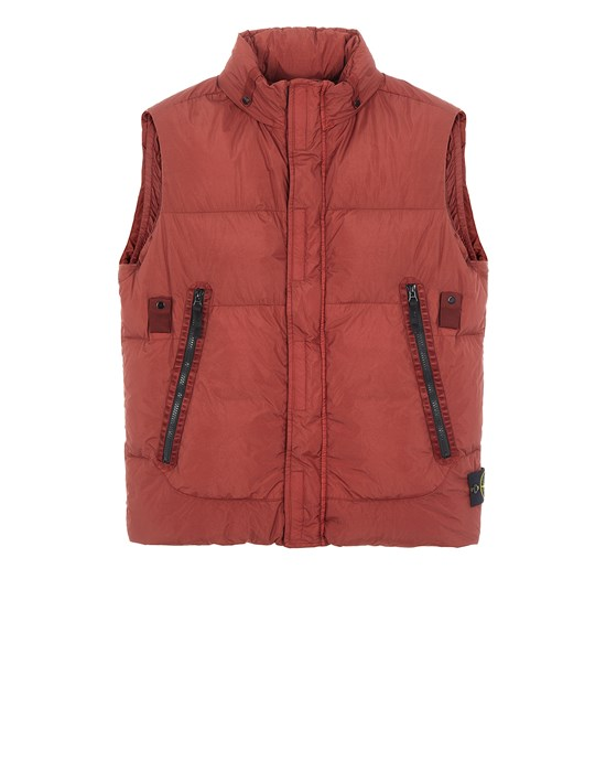 Vest Man G0123 GARMENT DYED CRINKLE REPS NY DOWN-TC Front STONE ISLAND