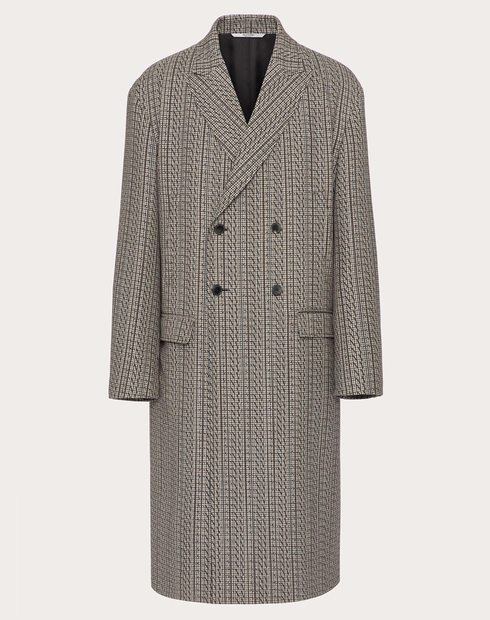 Valentino Uomo Vltn Times Wool Coat In Grau
