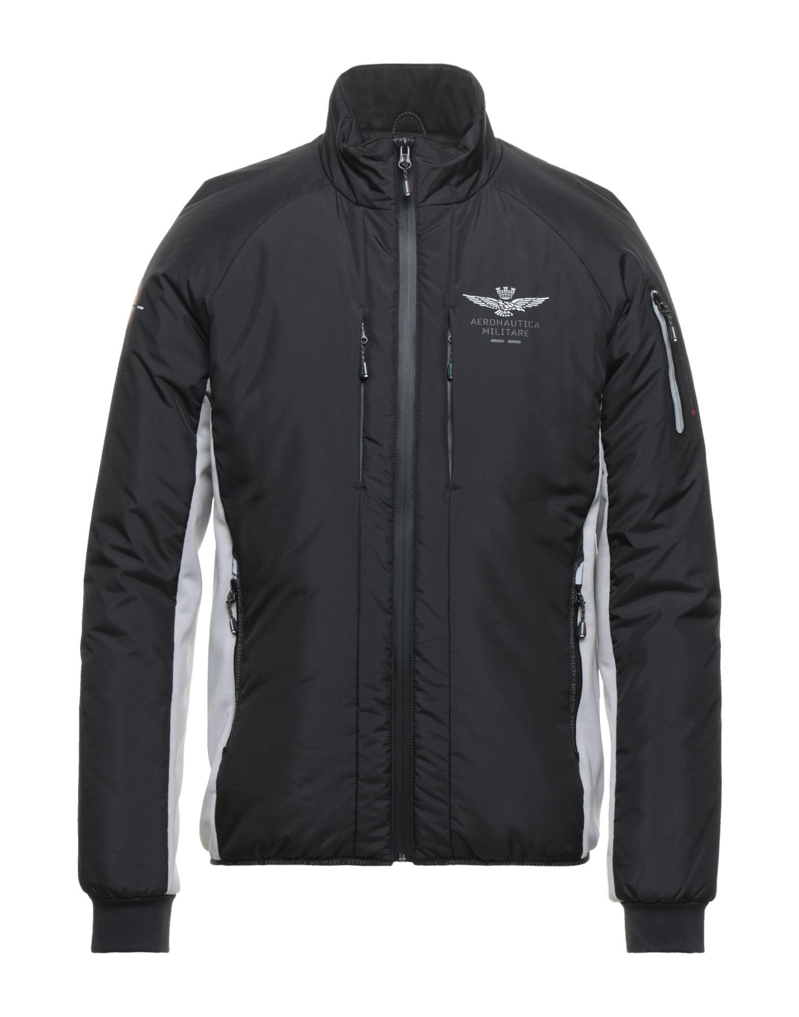 Aeronautica Militare Synthetic Down Jackets In Black