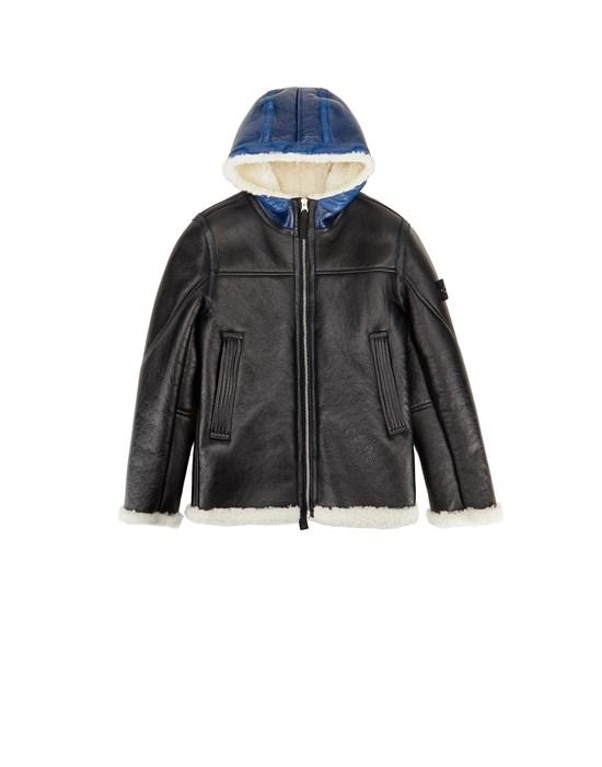 STONE ISLAND JUNIOR 00138 HAND SPRAYED OVER PRINTED SHEEPSKIN Jacket Man Black