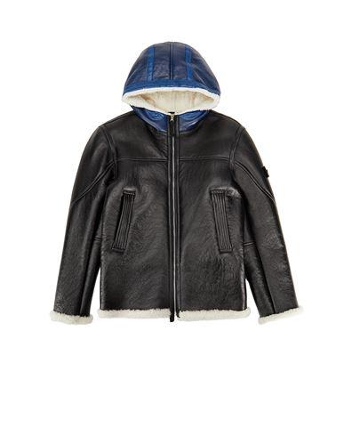 STONE ISLAND TEEN 00138 HAND SPRAYED OVER PRINTED SHEEPSKIN Jacket Man Black USD 1642