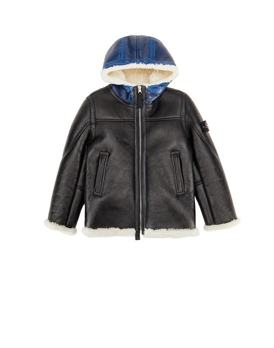 STONE ISLAND KIDS 00138 HAND SPRAYED OVER PRINTED SHEEPSKIN 캐주얼 재킷 남성 블랙