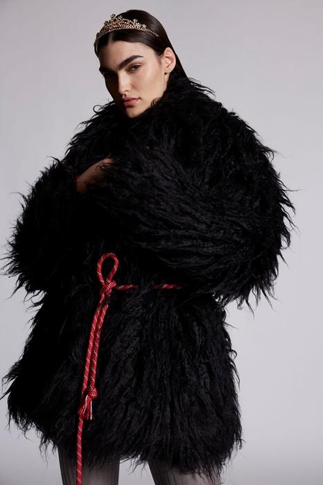 DSQUARED2 Femme Manteau court Noir Taille 36 74% Modacrylique 18% Polyester 8% Acrylique