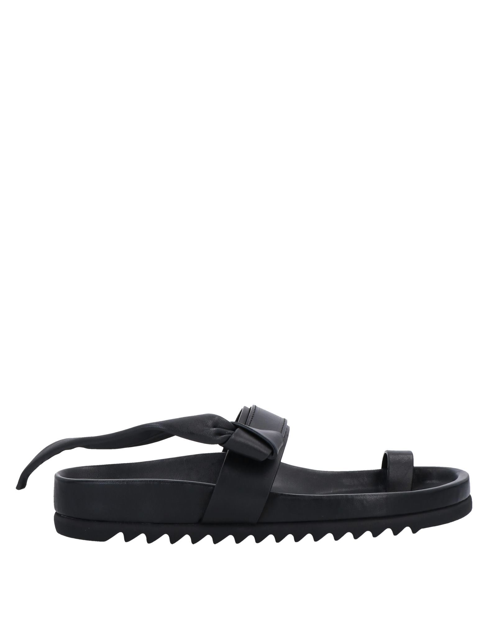 RICK OWENS Toe strap sandals. leather, no appliqués, solid color, velcro closure, round toeline, flat, leather lining, rubber sole, contains non-textile parts of animal origin. Soft Leather