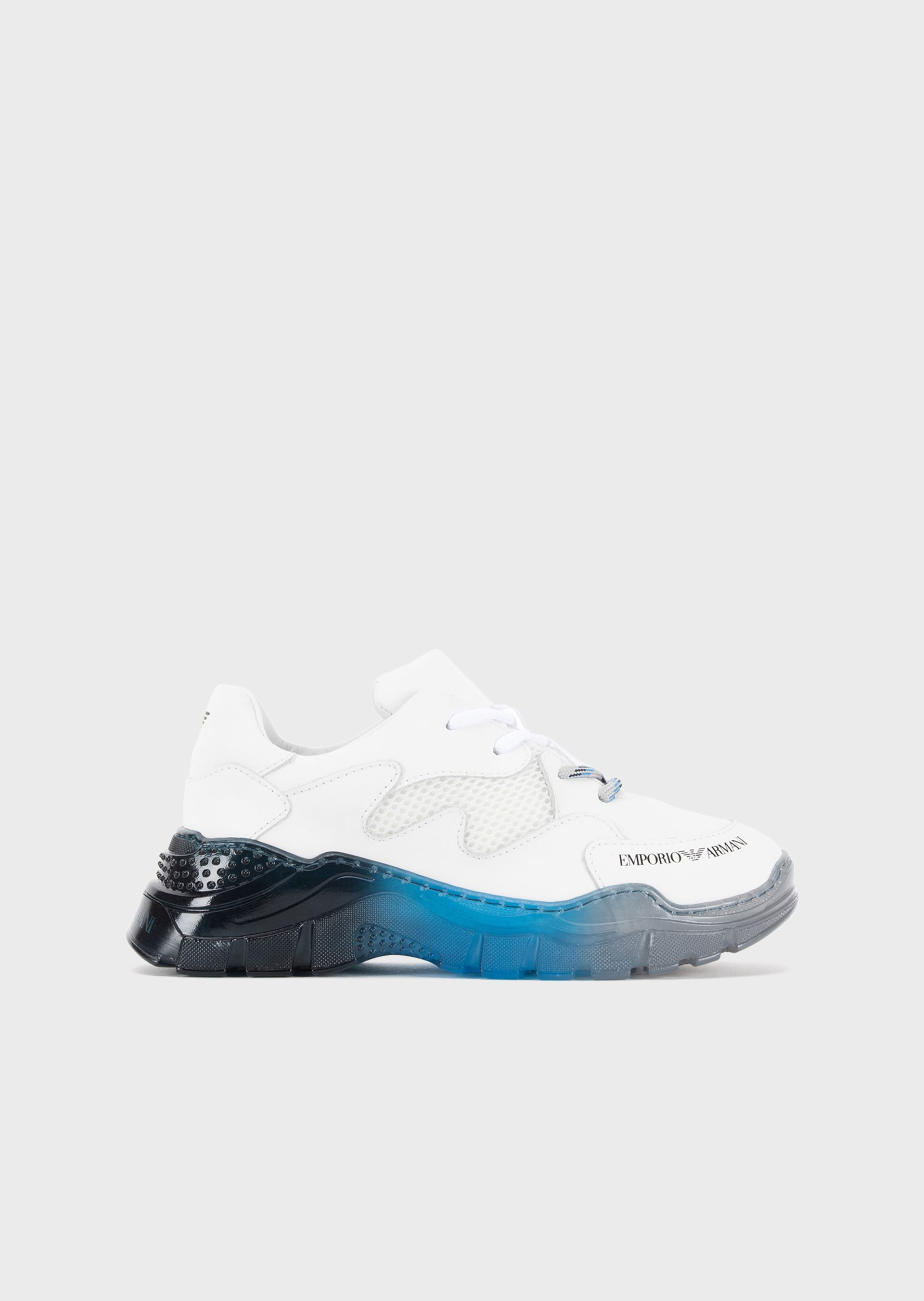 EMPORIO ARMANI Perforated leather sneakers with multicoloured soles