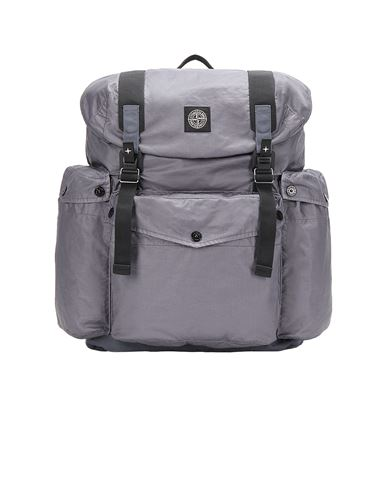 STONE ISLAND 90370 MUSSOLA GOMMATA CANVAS PRINT Backpack Man Blue Grey EUR 426