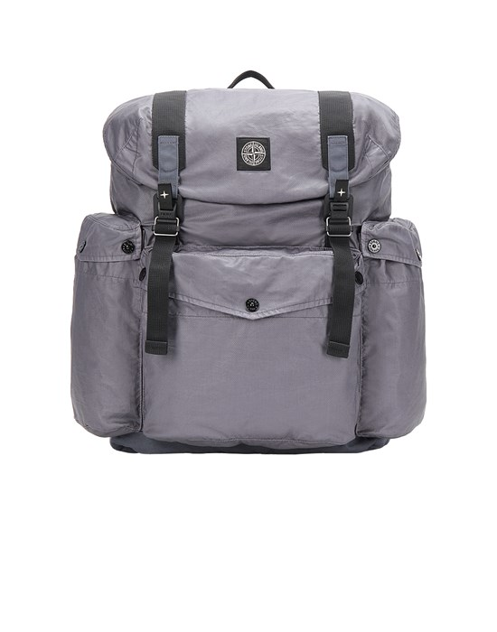 STONE ISLAND 90370 MUSSOLA GOMMATA CANVAS PRINT Backpack Man Blue Grey