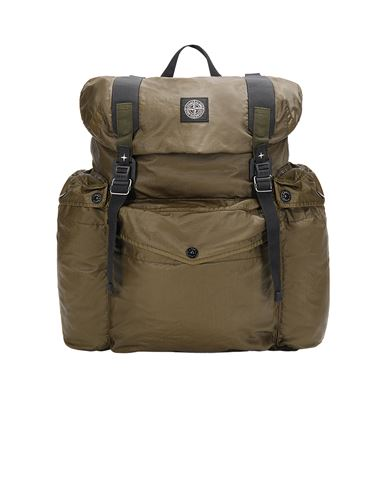 STONE ISLAND 90370 MUSSOLA GOMMATA CANVAS PRINT Backpack Man Olive Green USD 471