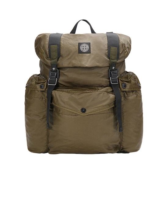 STONE ISLAND 90370 MUSSOLA GOMMATA CANVAS PRINT Backpack Man Olive Green