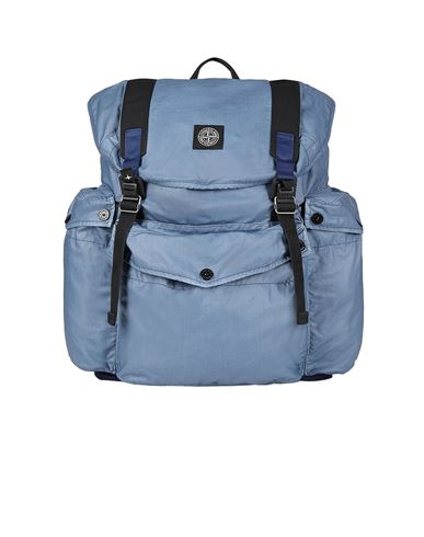 STONE ISLAND 90370 MUSSOLA GOMMATA CANVAS PRINT Backpack Man Pastel Blue USD 471
