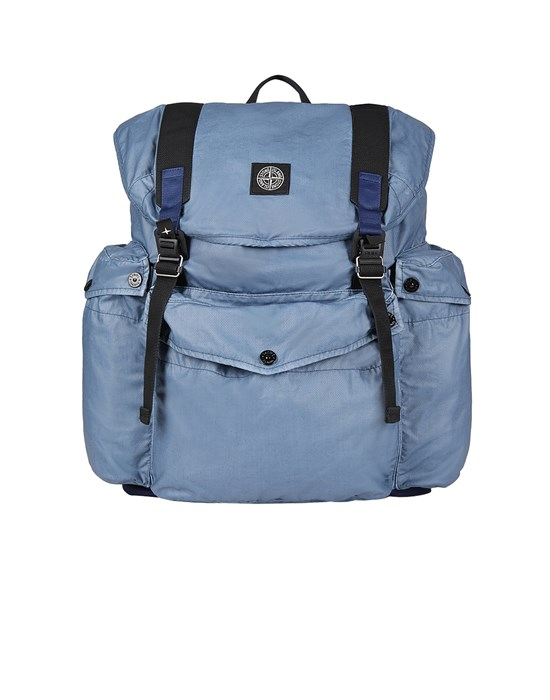 STONE ISLAND 90370 MUSSOLA GOMMATA CANVAS PRINT Backpack Man Pastel Blue