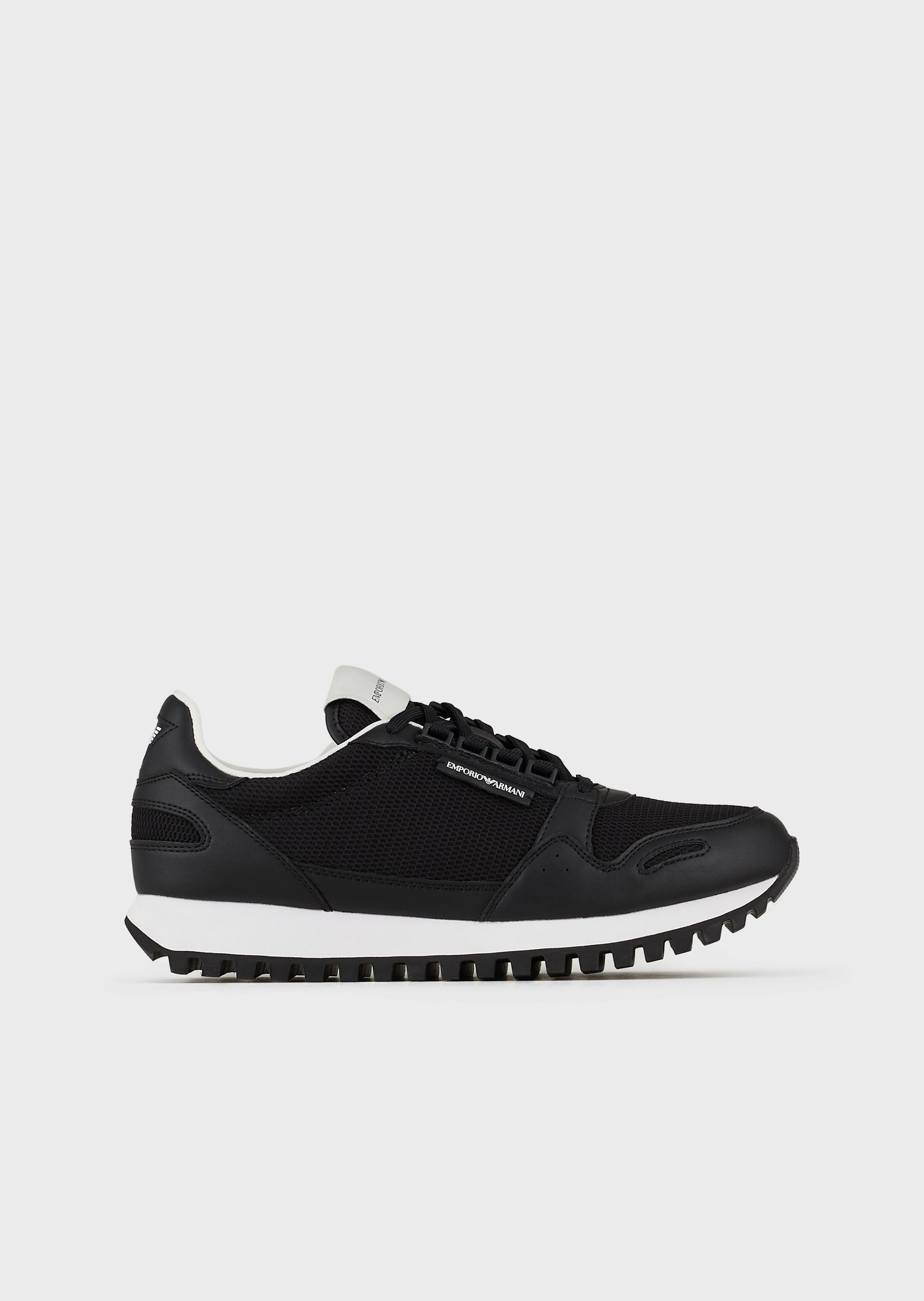 EMPORIO ARMANI Leather and mesh sneakers with knurled soles