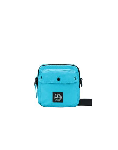 STONE ISLAND 90270 MUSSOLA GOMMATA CANVAS PRINT WAIST BAG Man Turquoise EUR 193