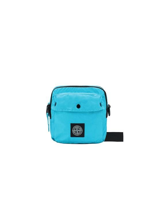 STONE ISLAND 90270 MUSSOLA GOMMATA CANVAS PRINT WAIST BAG Man Turquoise