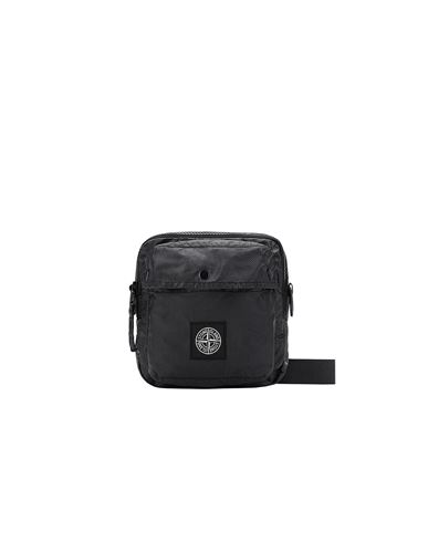 STONE ISLAND 90270 MUSSOLA GOMMATA CANVAS PRINT WAIST BAG Man Black USD 178