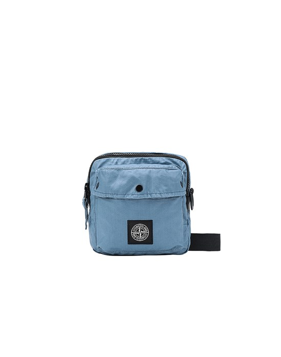 STONE ISLAND 90270 MUSSOLA GOMMATA CANVAS PRINT WAIST BAG Man Pastel Blue