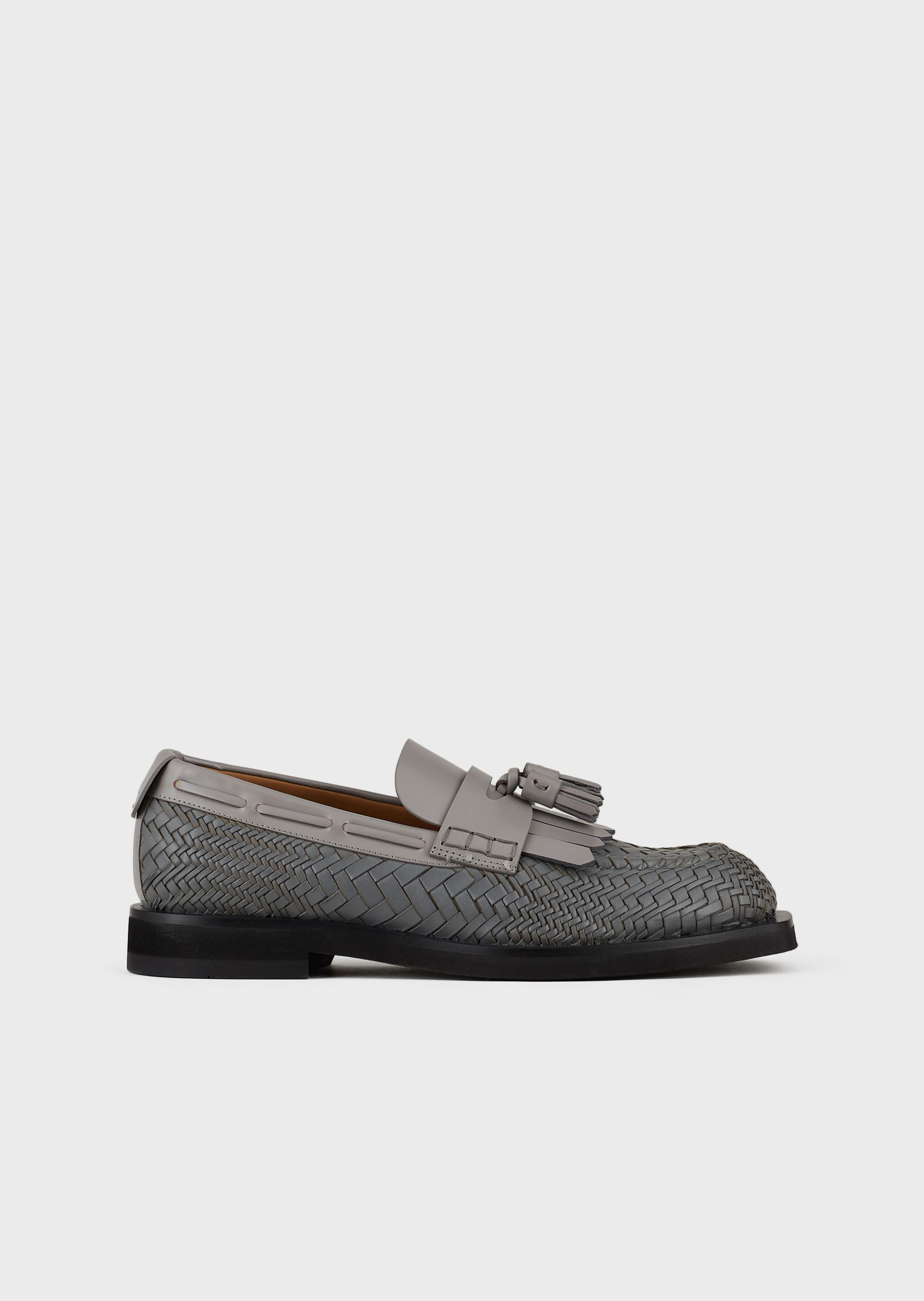 EMPORIO ARMANI Woven leather loafers with tassels