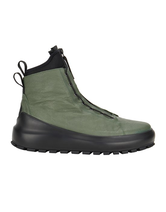 STONE ISLAND S0259 LEATHER/DYNEEMA® DUAL LACING SYSTEM Shoe. Man Sage Green