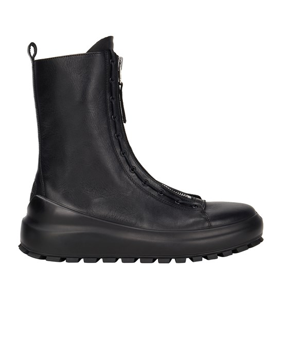 STONE ISLAND S0158 NEW STONE ISLAND LEATHER COMBAT BOOT DUAL LACING SYSTEM Shoe. Man Black
