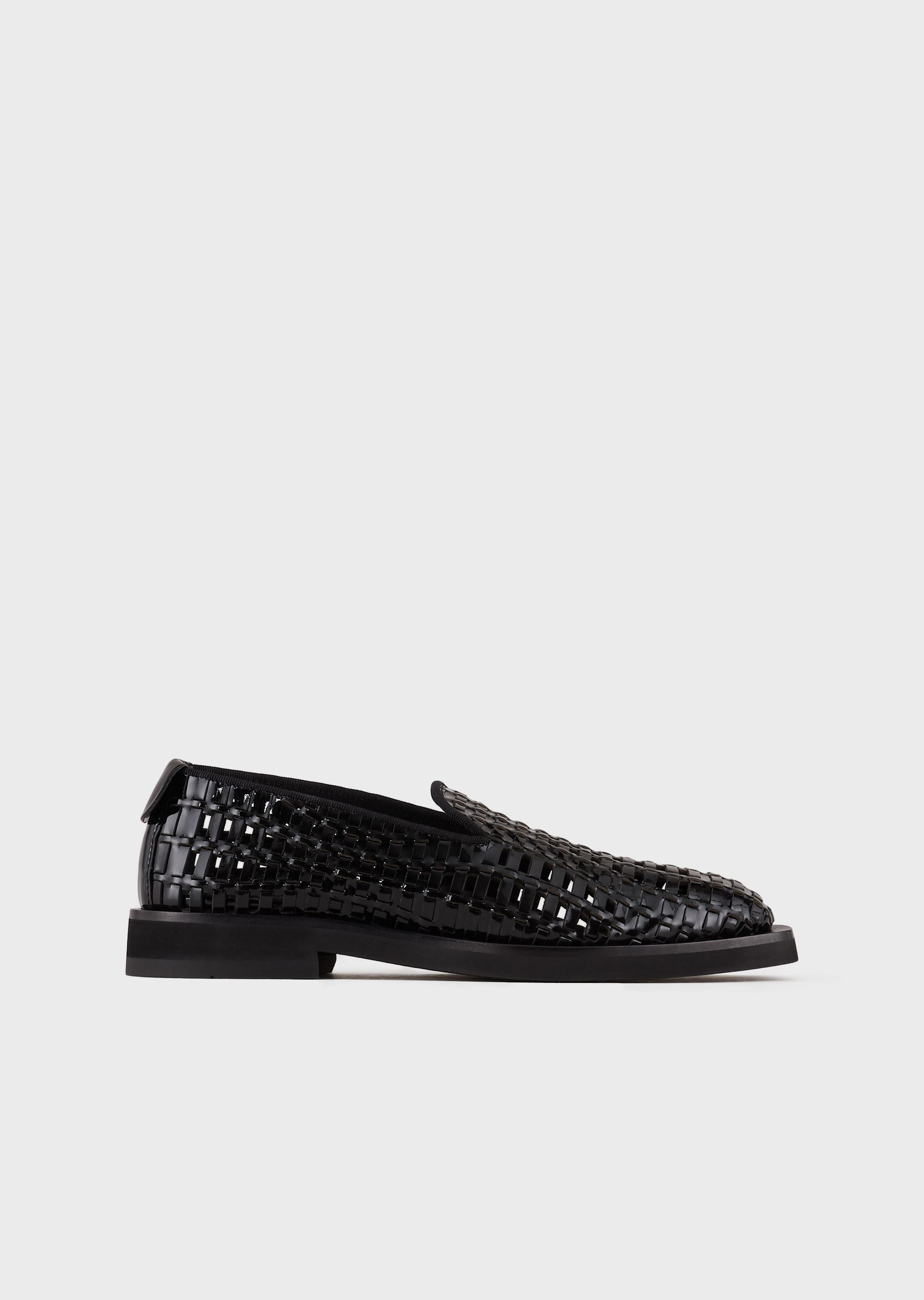 EMPORIO ARMANI Perforated, woven, patent-leather loafers