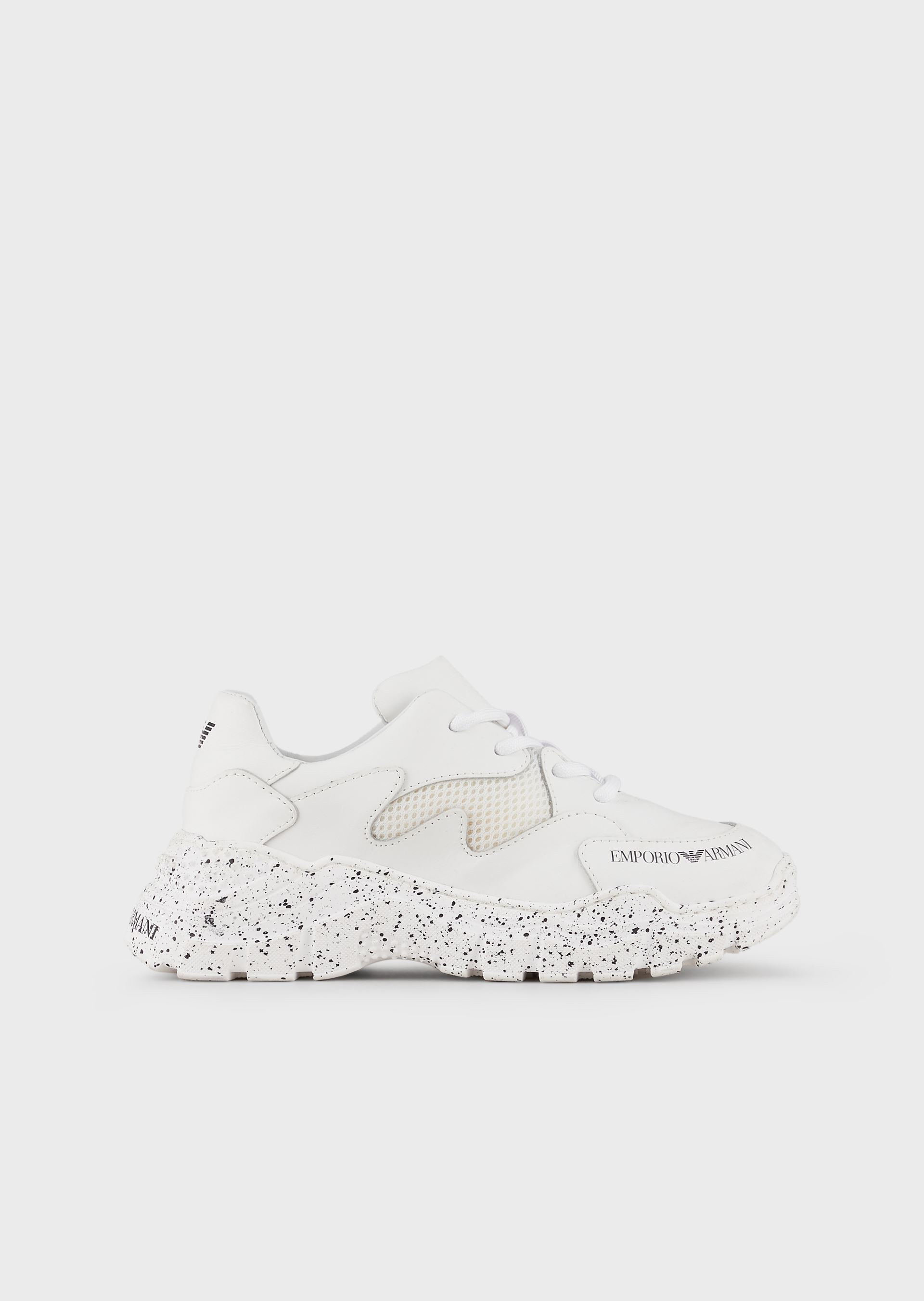 EMPORIO ARMANI Leather-and-mesh sneakers with graffiti soles