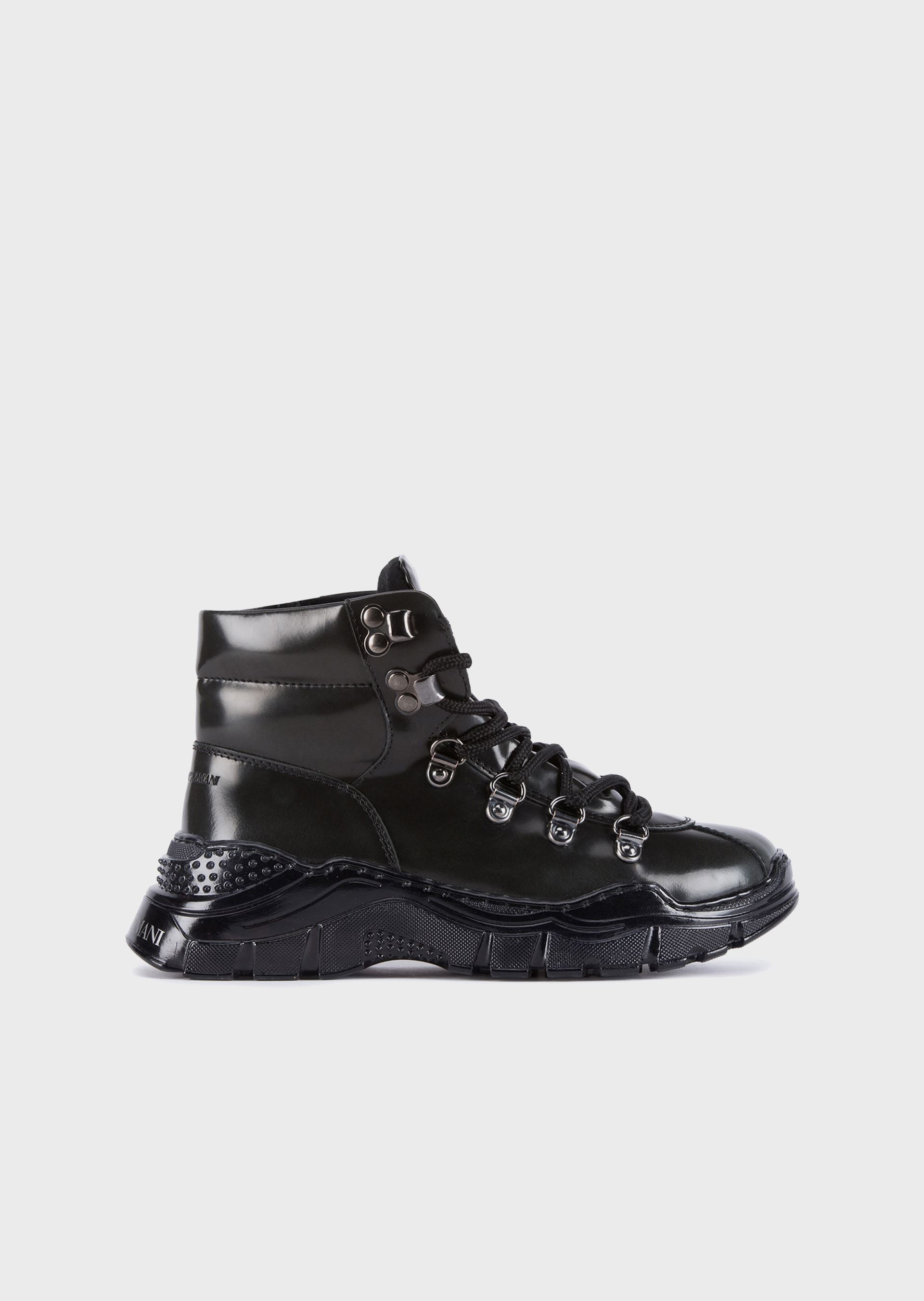 EMPORIO ARMANI Glossy brush-off leather hiking boots