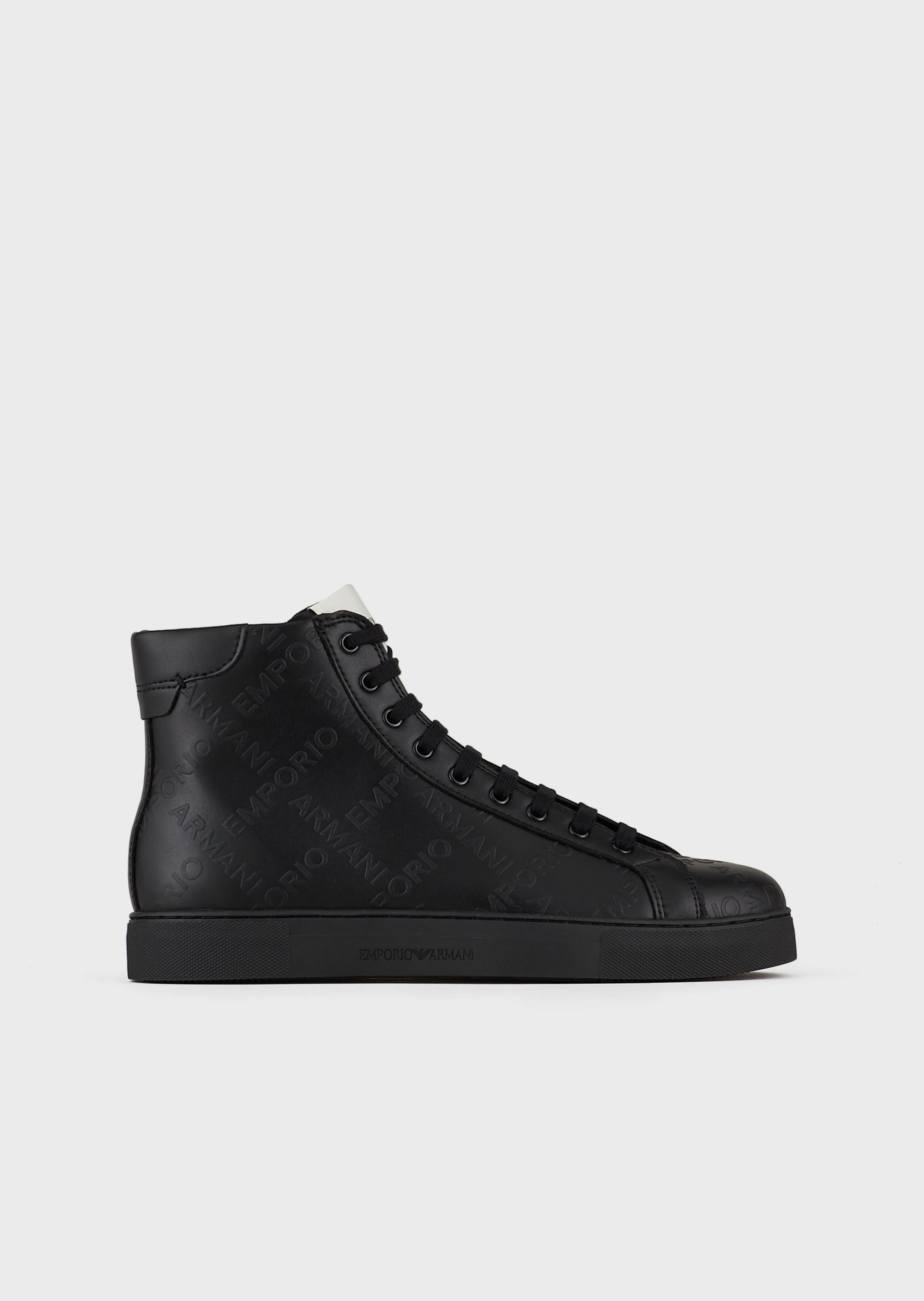 EMPORIO ARMANI Leather high-top sneakers with all-over, embossed logo
