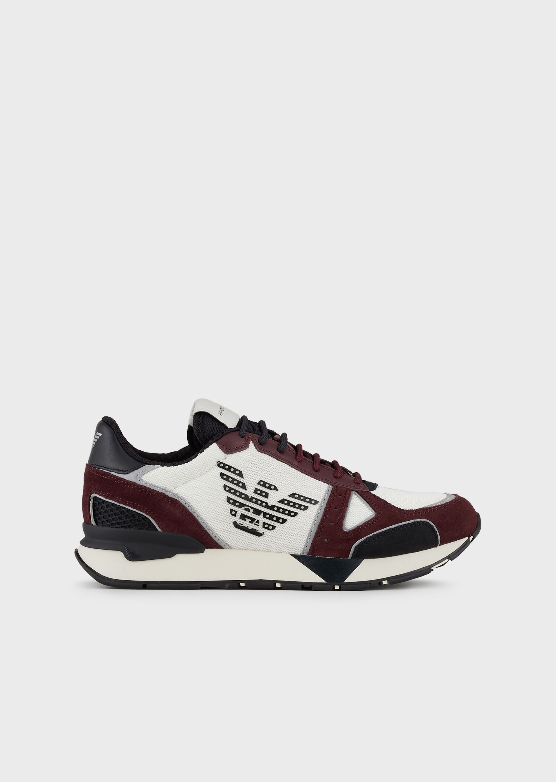 EMPORIO ARMANI Suede sneakers with mesh-nubuck inserts and side eagle