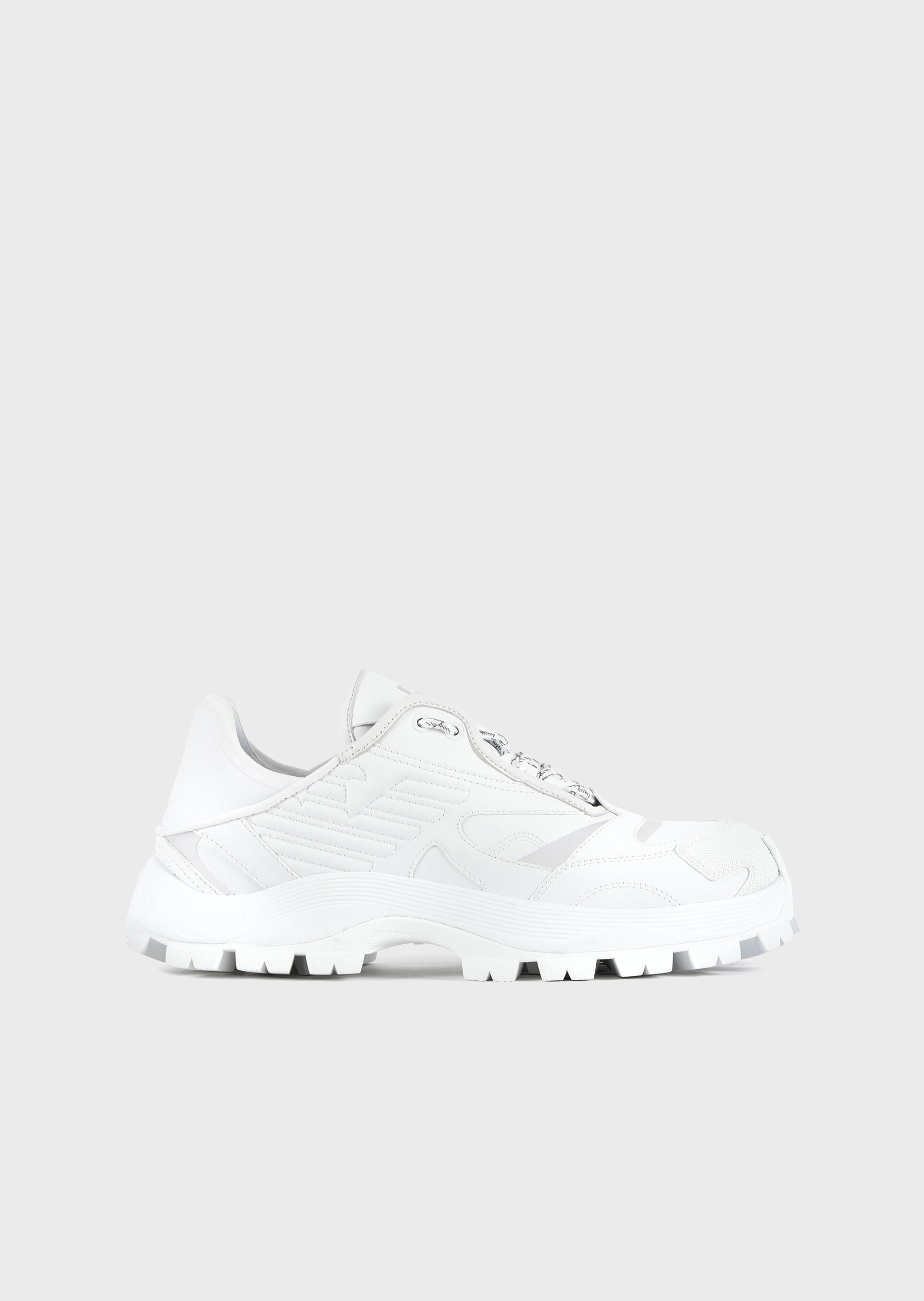 EMPORIO ARMANI Chunky leather sneakers with reflective accents and scuba fabric details