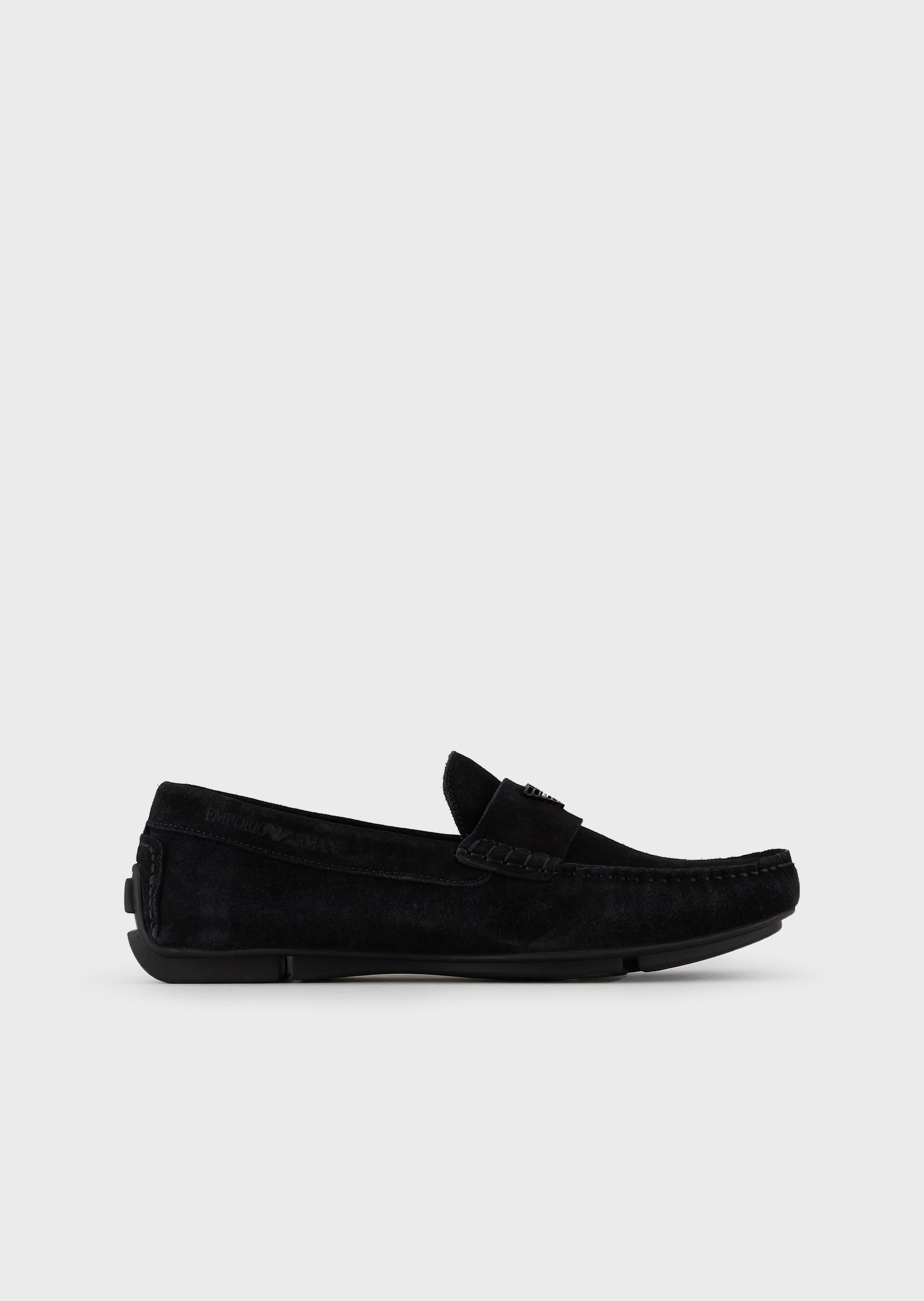 EMPORIO ARMANI Suede driving loafers with logo