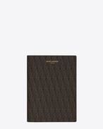 SAINT LAURENT Monogram SLG U Classic Toile Monogram passport case in black printed canvas and leather f