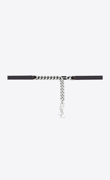 SAINT LAURENT Monogram belts D monogram tassel chain belt in black leather and silver-toned metal v4