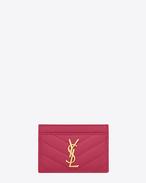 Monogram SAINT LAURENT CREDIT CARD CASE IN Lipstick Fuchsia Grain de Poudre Textured Matelassé Leather