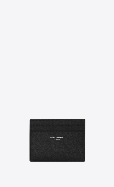 SAINT LAURENT Saint Laurent Paris SLG Man CLASSIC SAINT LAURENT PARIS CARD CASE IN BLACK GRAIN DE POUDRE TEXTURED LEATHER a_V4