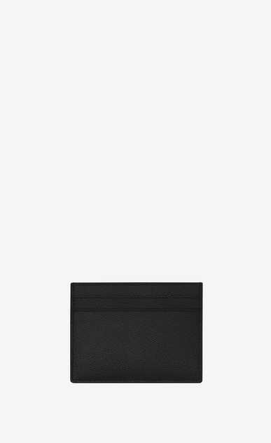 SAINT LAURENT Saint Laurent Paris SLG U CLASSIC SAINT LAURENT PARIS CARD CASE IN BLACK GRAIN DE POUDRE TEXTURED LEATHER b_V4