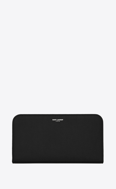 SAINT LAURENT Saint Laurent Paris SLG Man saint laurent paris zip around wallet in black textured leather a_V4