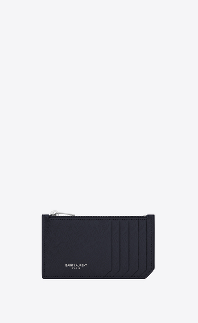 SAINT LAURENT Saint Laurent Paris SLG U CLASSIC SAINT LAURENT PARIS 5 FRAGMENTS ZIP POUCH IN NAVY BLUE GRAIN DE POUDRE TEXTURED LEATHER a_V4