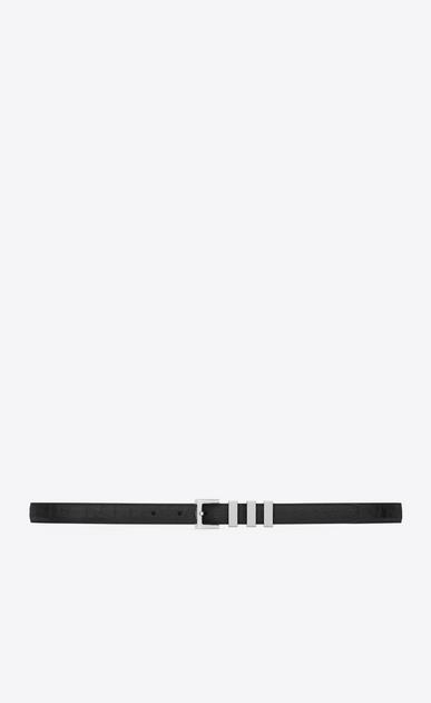 SAINT LAURENT Skinny Belts U CLASSIC 3 PASSANTS SAINT LAURENT BELT IN BLACK Crocodile Embossed LEATHER and brushed silver-toned metal a_V4