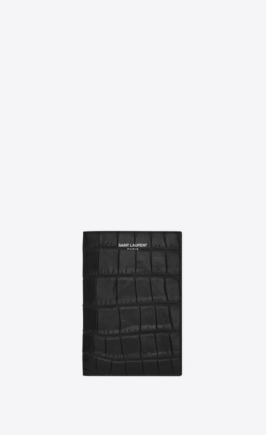 SAINT LAURENT Saint Laurent Paris SLG U CLASSIC SAINT LAURENT PARIS Passport Case IN BLACK Crocodile Embossed Leather a_V4