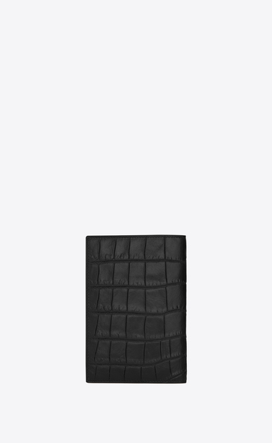 SAINT LAURENT Saint Laurent Paris SLG U CLASSIC SAINT LAURENT PARIS Passport Case IN BLACK Crocodile Embossed Leather b_V4