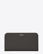 CLASSIC SAINT LAURENT PARIS ZIP AROUND WALLET IN DARK ANTHRACITE GRAIN DE POUDRE TEXTURED LEATHER
