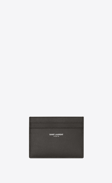 SAINT LAURENT Saint Laurent Paris SLG U CLASSIC SAINT LAURENT PARIS CARD CASE IN Dark Anthracite Grain de Poudre Textured Leather a_V4