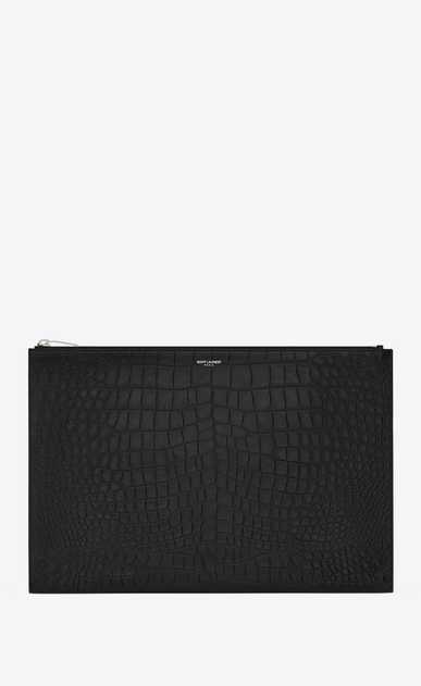 SAINT LAURENT Saint Laurent Paris SLG U CLASSIC SAINT LAURENT PARIS Zipped DOCUMENT HOLDER IN BLACK Crocodile Embossed Leather a_V4