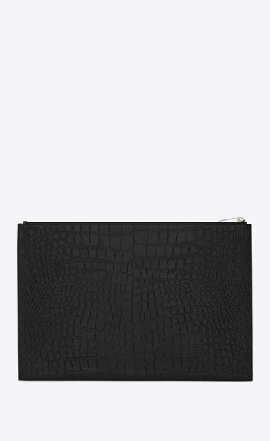 SAINT LAURENT Saint Laurent Paris SLG U CLASSIC SAINT LAURENT PARIS Zipped DOCUMENT HOLDER IN BLACK Crocodile Embossed Leather b_V4