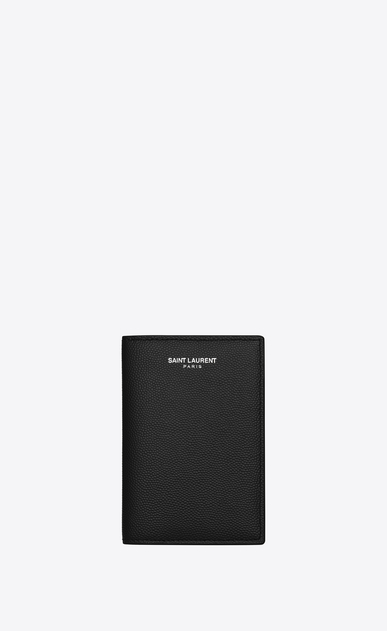 SAINT LAURENT Saint Laurent Paris SLG U CLASSIC SAINT LAURENT PARIS Credit Card Wallet IN Black Grain de Poudre Textured LEATHER a_V4