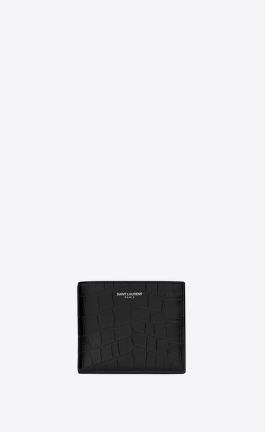 saint laurent paris east/west wallet with coin pouch in black crocodile embossed leather