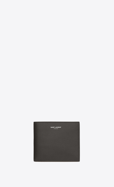 SAINT LAURENT Saint Laurent Paris SLG U CLASSIC SAINT LAURENT PARIS EAST/WEST WALLET IN DARK ANTHRACITE GRAIN DE POUDRE TEXTURED LEATHER a_V4