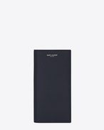 SAINT LAURENT Saint Laurent Paris SLG U CLASSIC SAINT LAURENT PARIS CONTINENTAL WALLET IN Navy Blue GRAIN DE POUDRE TEXTURED LEATHER f